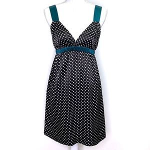 Johnny Martin Black White Green Polka Dot Dress